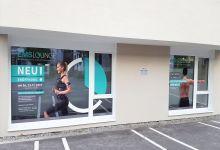 Fensterbeklebung EMS-Lounge Lochau