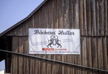 Werbetransparent Bäckerei Hutter